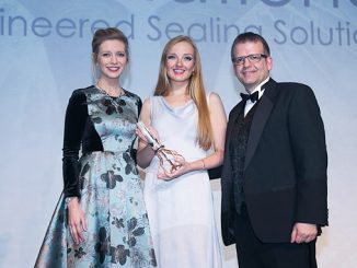 Offshore Achievement Awards 2018: from left, Rachel Riley; Laura Steedman, BP Mechanical Engineer – North Sea; Kenny McAllister, SPE Aberdeen Vice-Chair