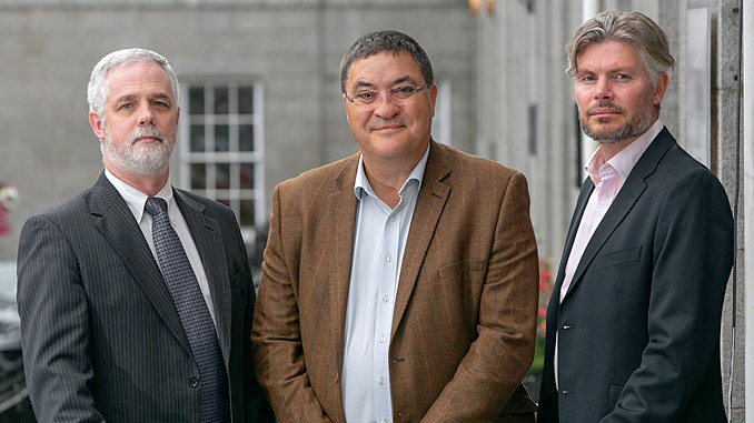 From left, Andrew Jaffrey, Chief Technology Officer; Neil Gordon, Chief Executive; Elliot Kinch, Business Development Director (photo: Sentinel Subsea)