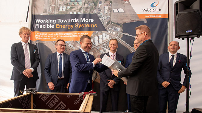The ground-breaking ceremony for the new Hamina LNG terminal was attended by Finland's Minister of Finance, Petteri Orpo