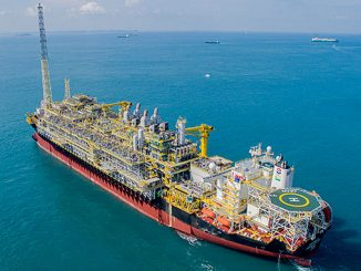 "The 'FPSO Cidade de Caraguatatuba MV27' is deployed for operation in the Lapa (formerly Carioca) oil field in the ""pre-salt"" region of the Santos Basin off the coast of Brazil (photo: MODEC)"