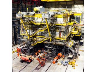 Deutsche Bucht offshore wind farm offshore substation under construction