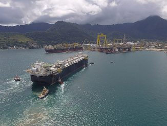 The 'FPSO P-69' is a standardised production vessel offshore Brazil with a capacity for 150,000 barrels of oil and 6 million cubic metres of natural gas a day