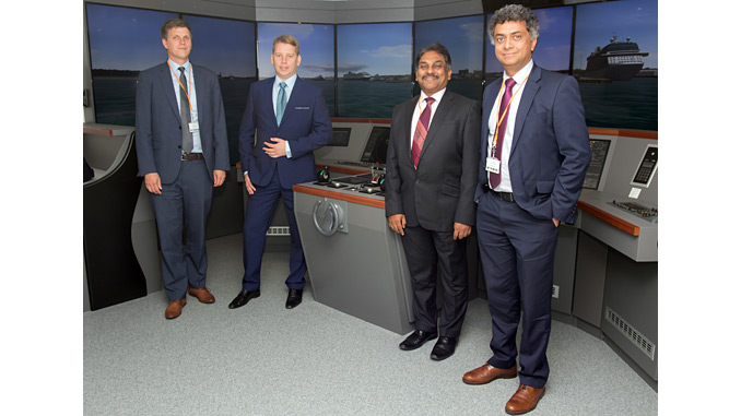 From left, Lars Lippuner, Head of Commercial Operations, Warsash School of Maritime Science and Engineering; Alex Ponomarev, Area Sales Manager, Wärtsilä; Muhammad Shafique, Senior Lecturer, Warsash School of Maritime Science and Engineering; Syamantak Bhattacharya, Dean, Warsash School of Maritime Science and Engineering