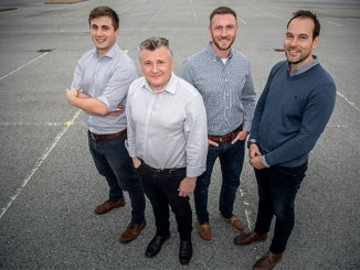 From left, Douglas Hitchcock, Design Engineer; Craig Feherty, CEO; Kevin Rose, Applications Engineer; and Mark Burton, Operations Manager