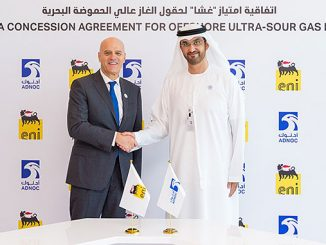 From left, Eni's Chief Executive Officer, Claudio Descalzi, and H.E. Dr Sultan Ahmed Al Jaber, UAE Minister of State and Abu Dhabi National Oil Company Group CEO