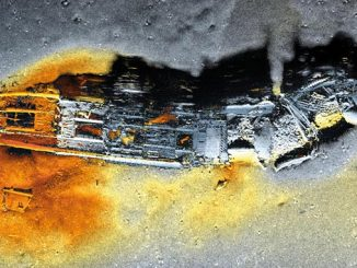 HISAS 1032 synthetic aperture sonar image of a shipwreck collected by a HUGIN AUV System