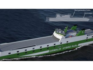 The Grimaldi Green 5th Generation vessels will be hybrid powered by combining use of traditional fossil fuels during operation and battery power when in port