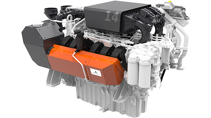 The high-speed Wärtsilä 14 engine complies with the stringent EU Stage V emissions standard for inland waterway vessels