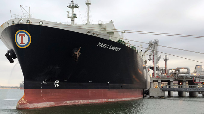 Loading the first commissioning cargo of LNG at The Corpus Christi liquefaction facility