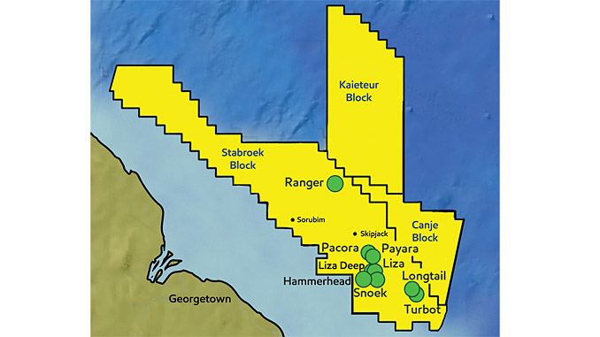 Offshore Guyana – the Pluma-1 well is located approximately 27 kilometres south of the Turbot-1 well