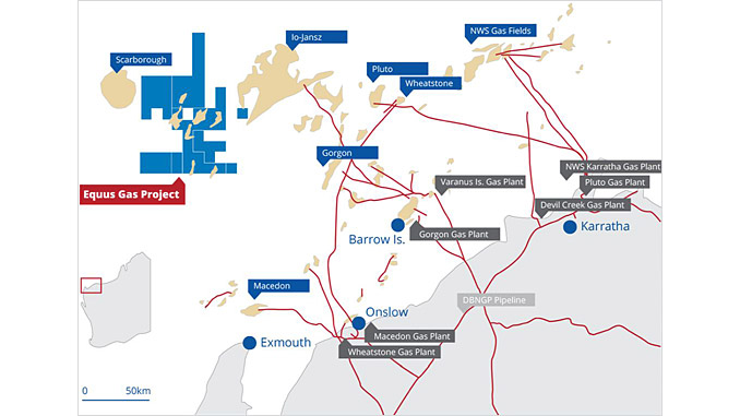 The Equus gas and condensate fields are located in the Carnarvon Basin, about 200 kilometres north-west of Onslow in Western Australia