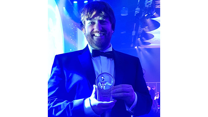 Steve Rossiter, Managing Director collecting the award for Small Company of the Year 2018