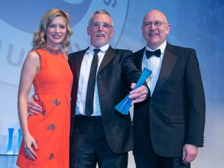 From left, OAA Host, Rachel Riley; Exceed Managing Director, Ian Mills; EIC CEO Stuart Broadley