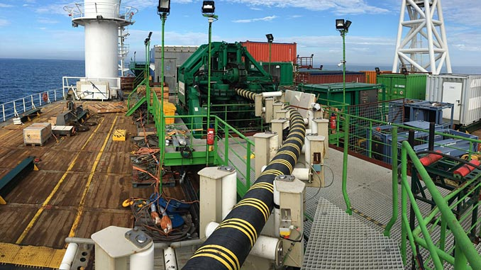 Sparrows tensioner handling cable for subsea installation