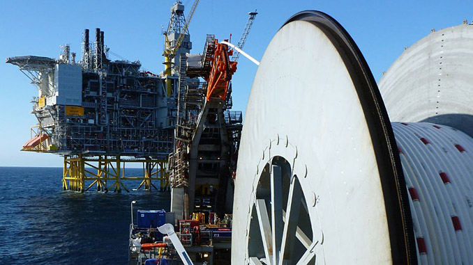 Subsea 7 reeled pipelay vessel at work