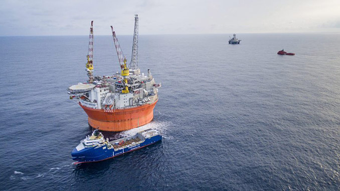 'Goliat FPSO' and supply vessel 'Stril Barents' at the field, February 2016