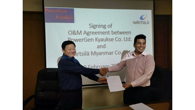 The contract was signed by U Maung Kyay, Managing Director, PowerGen Kyaukse Co. Ltd. and Nicolas Leong, Managing Director, Wärtsilä Myanmar Co. Ltd.