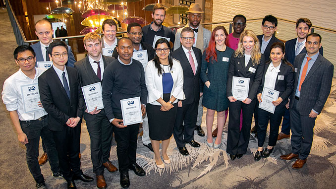 Some of the 2019 bursary winners with SPE Aberdeen Section Vice Chair, Kenny McAllister at centre