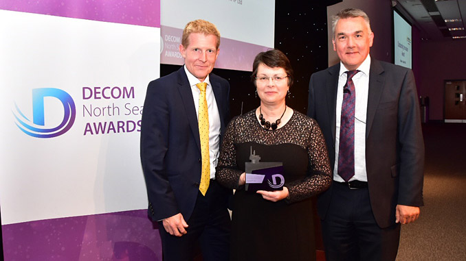From left, Graeme Fergusson, Managing Director Fairfield Decom, Winner of the Outstanding Innovation award, and Dorothy Burke, Ecosse IP, and John Warrender, Chief Executive Decom North Sea