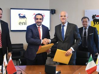 Claudio Descalzi, Chief Executive Officer of Eni, and H.E. Sheik Mohamed Bin Khalifa Al Khalifa, Minister of Oil of Bahrain and Chairman of the board of directors in NOGA signed an EPSA for Block 1