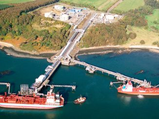 Aerial view of Braefoot Bay Marine Terminal in Fife where ExxonMobil is investing in its life extension