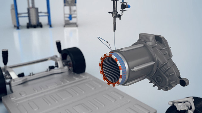 Resin mass application on electric motor