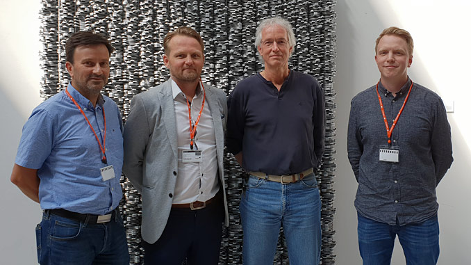 From left, Roger Wiik, Project Manager; Thomas Skattum, Business Development Manager; Andy Clark, Exploration Operations Manager LUNDIN; Carl Bentzroed, Business Line Manager Seabed Survey