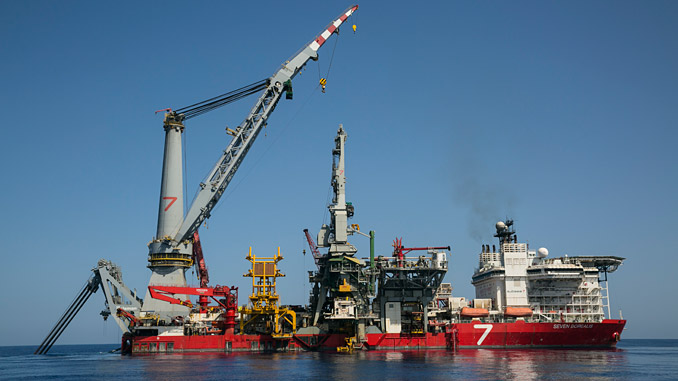Offshore work in the West Nile Delta, Egypt