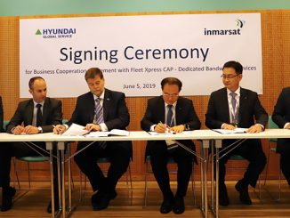 Ronald Spithout, President of Inmarsat Maritime and Kwang Hean An, CEO of Hyundai Global Service