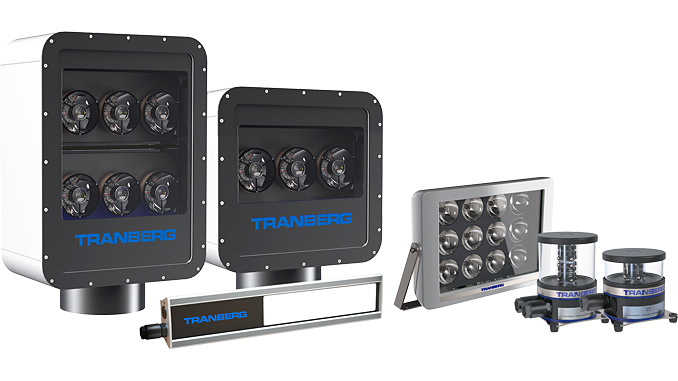 The BlueLine Lighting Series – from left, Search Light, Deck Light, Floodlight and a Single and Double Navigation Light