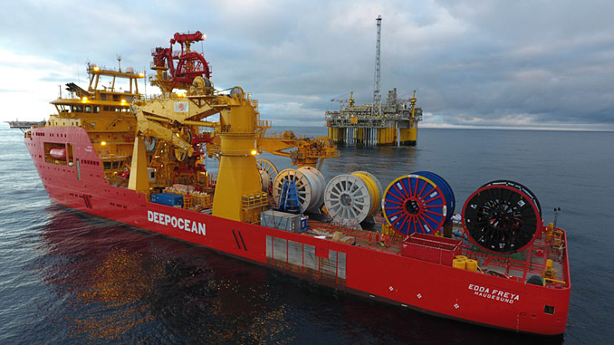 The 'Edda Freya' 304OCV offshore construction vessel, with a length of 149.8 metres and beam of 27 metres, joined the DeepOcean fleet early in 2016