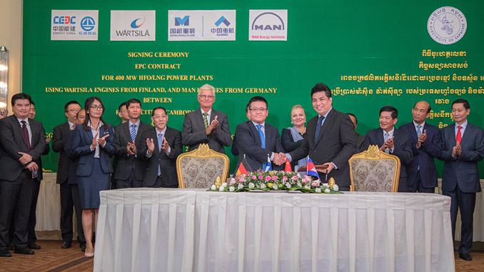 The letter of intent was signed by Liu Fei, President of CGGC-UN Power and Nicolas Leong, Regional Director, South East Asia, Wärtsilä Energy Business on 11 June 2019 in Phnom Penh, Cambodia – the event was witnessed by H.E Satu Suikkari-Kleven, Ambassador of Finland to Thailand and Cambodia; H.E Wang Wentian, Ambassador of the People's Republic of China to Cambodia; and H.E, Keo Rottanak, Minister Attached to the Prime Minister, Managing Director of EDC (photo: EDC)