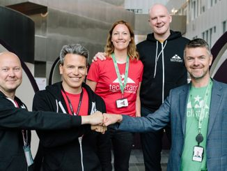Techstars Energy partners: Gunnar Deinboll (left), executive vice president in Capgemini Invent, Jens Festervoll, Equinor's corporate liaison, Guro Knapstad, KONGSBERG's corporate liaison, Hugh McGirr, programme manager Techstars Energy and Audun Abelsnes, managing director Techstars Energy