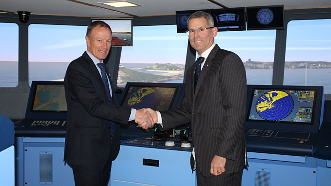Kongsberg Digital and Australian Maritime College (AMC) has signed an agreement on further commitment of simulation support. To the left, Paul Gilkison, Area Sales Manager, Kongsberg Digital and to the right Michael van Balen, Principal of AMC