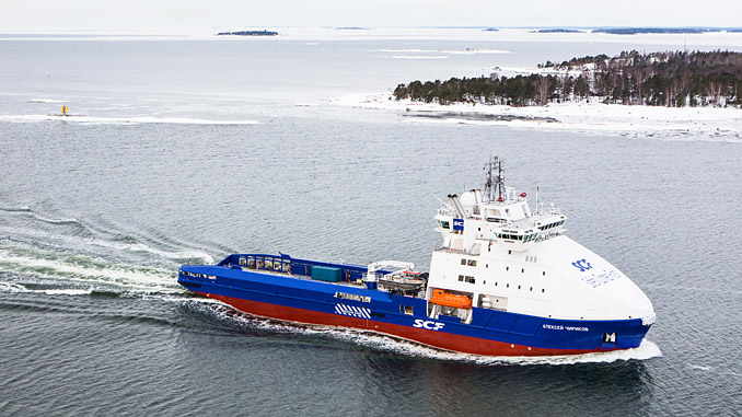 Ice-breaking supply vessel 'Aleksey Chirikov' equipped with ABB's Remote Diagnostic System, serves production platforms of the Sakhalin-1 project