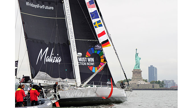'Malizia II' arrives in New York City after a 2-week sail across the Atlantic