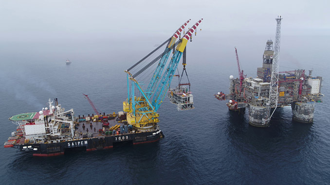 The 3,500 tonne Dvalin module has been lifted safely aboard the Heidrun platform in the Norwegian Sea