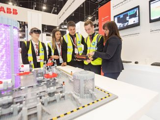 Lochside Academy pupils with Jill Glennie, external affairs director at OPITO during EYF at SPE Offshore Europe 2019