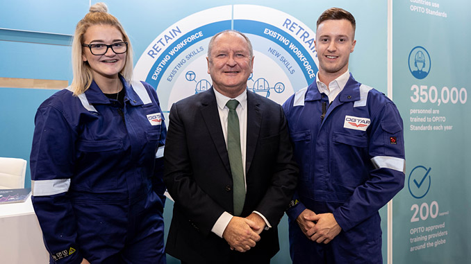 OPITO CEO John McDonald flanked by OGTAP apprentices Robyn Burn and James Penman