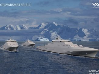 Vestdavit's boat launching and recovery systems for next generation Norwegian Coast Guard OPVs will be fully operational in temperatures as low as -25° C (illustration: NORDWEST3D/photo: Kjell Rune Venaas)