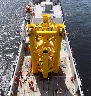 The Sea Swift platform can be transported on a standard supply vessel and installed using conventional drilling and lifting techniques from a drilling rig