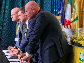 Coldiretti's President, Ettore Prandini; Eni's CEO, Claudio Descalzi; and BF S.p.A.'s CEO, Federico Vecchioni at the signing