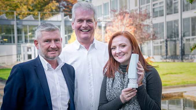 From left, Pete Baker from TAQA, Ian Phillips from SPE and Rachel Mackay, competition winner