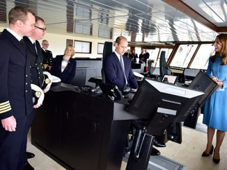 Royal Ceremonial Naming of 'RRS Sir David Attenborough' – Sir David Attenborough and Duke and Duchess of Cambridge attended the event on Thursday – pictured with Kongsberg Maritime systems on the bridge (photo: British Antarctic Survey)