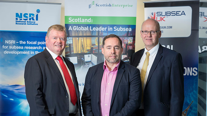 From left, Tony Laing of NSRI, David Rennie of Scottish Enterprise and Neil Gordon of Subsea UK