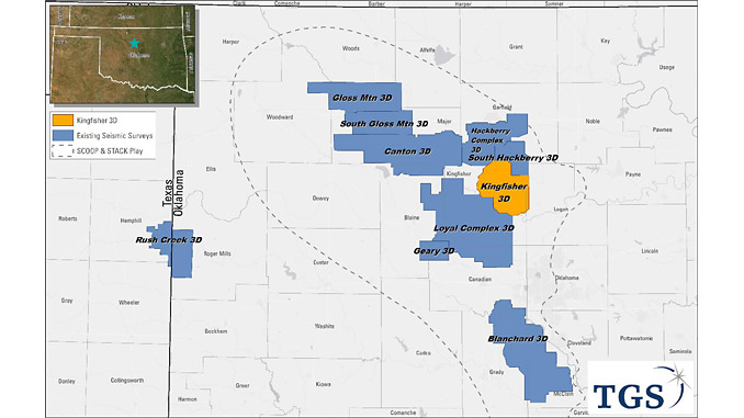 The Kingfisher 3D survey extends TGS' onshore seismic data coverage in the core of the SCOOP and STACK in the Anadarko Basin