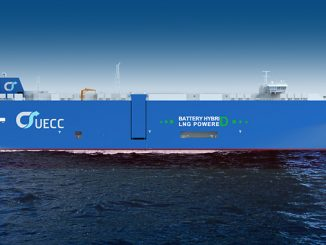 Rendering of the latest battery hybrid LNG PCTC ordered by UECC