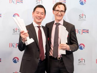 Collecting the award in Tokyo, Liam Hickey, Chief Financial Officer at Azuri Technologies (right) and Suguru Tsuzaki from the Power Business Division, Marubeni Corporation
