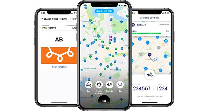 Whim app allows customers to access and connect on a single platform all available transport options in a city – from taxis, buses, bikes and rental cars, to ride-hailing services, shared e-scooters and e-bikes