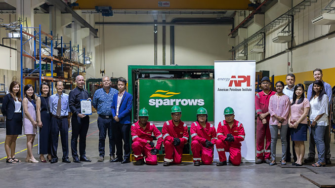 Sparrows' Singapore team being presented with their API Q2 certificate